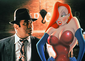 Bob Hoskins and Jessica Rabbit
