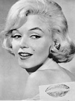 Marilyn Monroe with her Kiss Mark